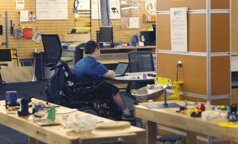 Student working in the FabLab on east campus at Century College.