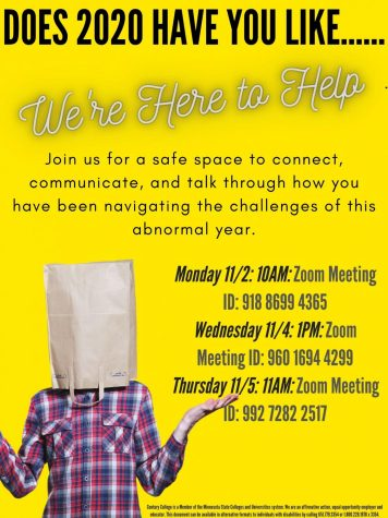 Crystal DeKam, Mental Health Counselor, has scheduled group space for students to connect and talk through navigating the challenges of 2020. Zoom meetings will be held: 11/2 at 10am ID: 918 8699 4365; Wednesday 11/4 at 1pm ID: 960 1694 4299 Thursday 11/5 at 11am ID: 992 7782 2517