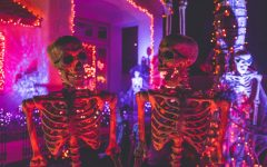 Halloween skeleton decorations in neon lights