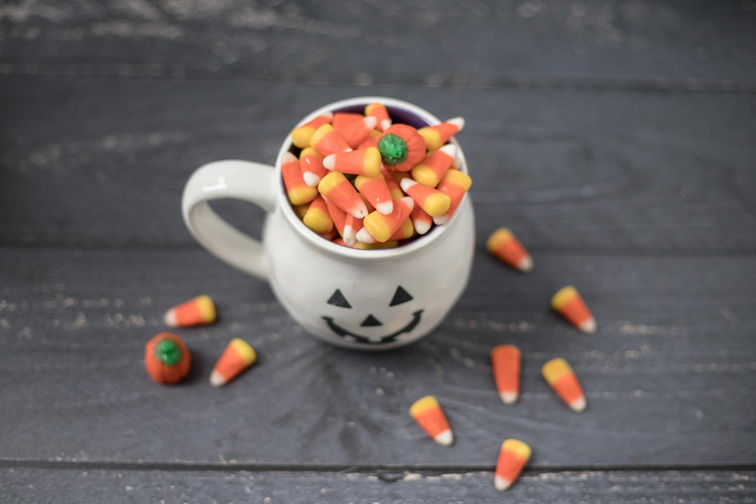 Halloween cup full of candy corn