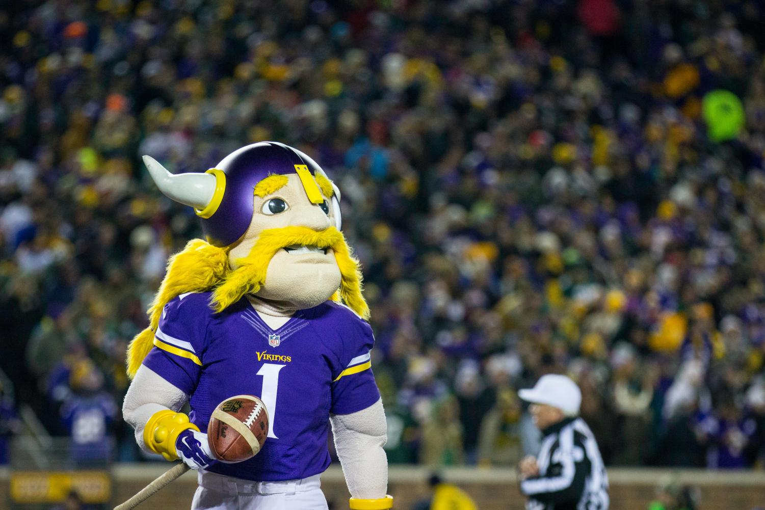 Vikings mascot in focus