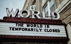 World Theater sign reads
