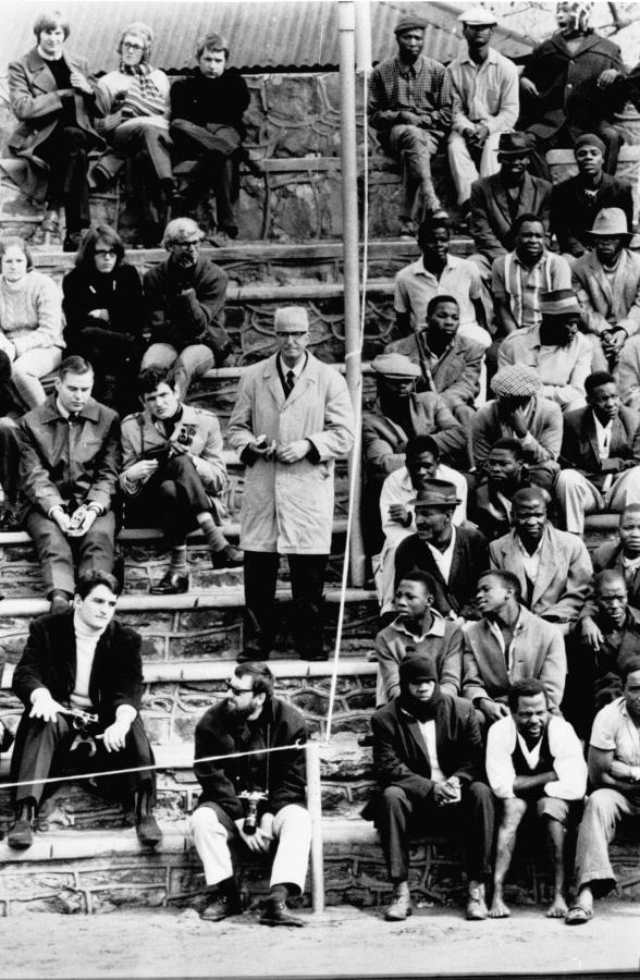The segregated stands of a sports arena in Bloemfontein, South Africa, are a reflection of an entire nation divided by the issue of race. 1/May/1969--UN