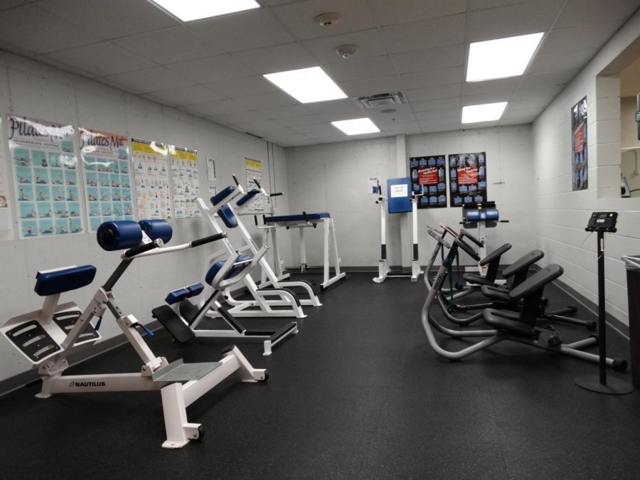 Exercise equipment in the Century College gym.