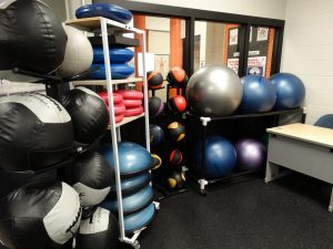Image of yoga balls in the Century College weight room.