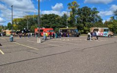 Panoramic view of the Lot E Food Truck Bash.