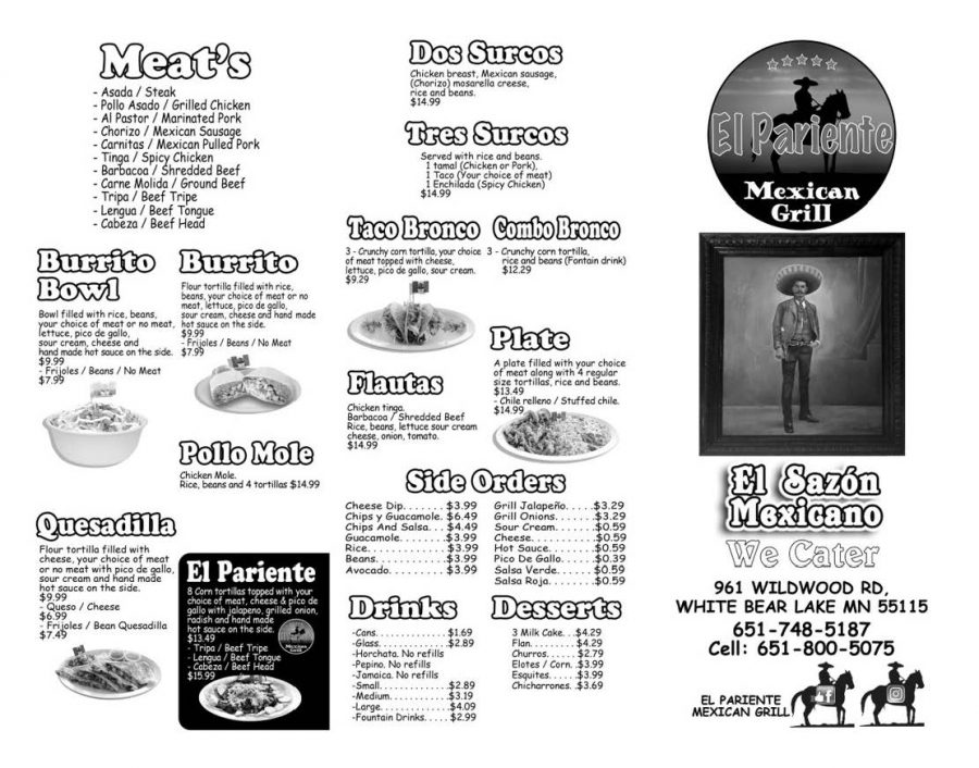 El Pariente' menu page 1. Alternative PDF format available use link in this article.