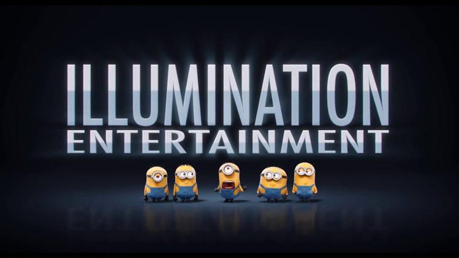 Illumination Entertainment logo with minions. Promotional advertisement.